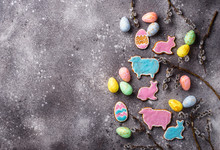 Easter Cookie In Shape Of Bunn...