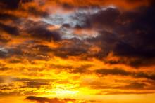 Fiery Orange Sunset Sky With L...