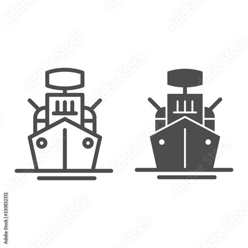 Warship line and solid icon Fototapet