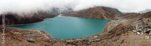 Fotografía Gokyo or Dudh Pokhari lake and Gokyo village panorama