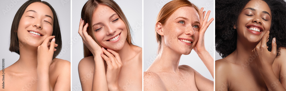 Fototapeta Happy diverse models touching clean skin