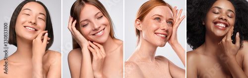 Fotografie, Obraz Happy diverse models touching clean skin