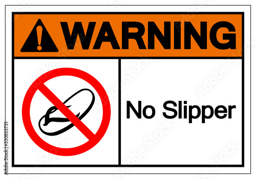 Photo Warning No Slipper Symbol Sign, Vector Illustration, Isolate On White Background Label