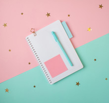 Flat Layout Of Blank Notepad W...