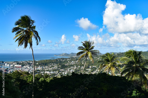 island, tropical, palm trees, mountains, nature, ocean, sky, water, landscape