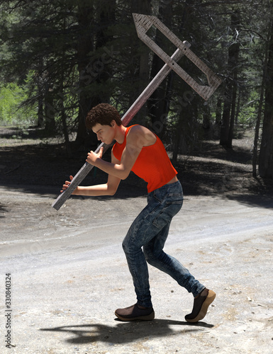 Computer generated male character in red tanktop carrying a wooden pointer on a pole with carved empty arrow inside showing in the opposite direction, against a sunny forest background Canvas Print