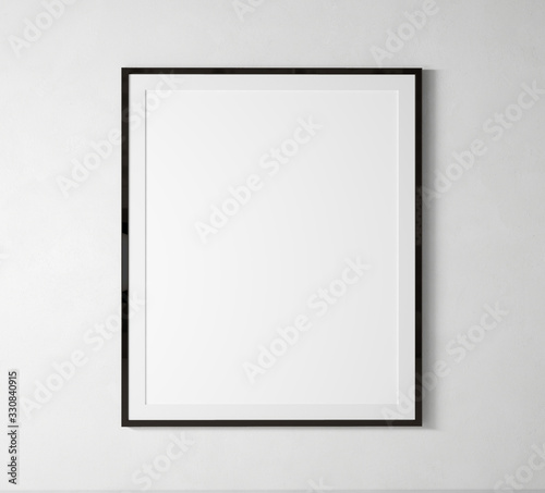 stay home Black vertical frame mock up. Frame poster on white wall. 3D illustrations. Wall mural