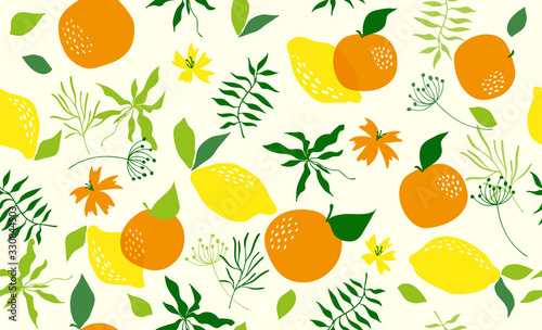 Seamless pattern with orange. Vector - 330844503