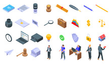 Notary Icons Set. Isometric Set Of Notary Vector Icons For Web Design Isolated On White Background