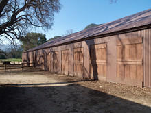 Rustic US National Park Owned Historic Movie Town Barn In The Santa Monica Mountains National Recreation Area Near Los Angeles Ca.  The Buildings Were Destroyed In The 2018 Woolsey Fire.