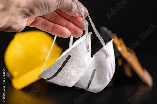 Protective masks and workwear for the production worker Canvas Print