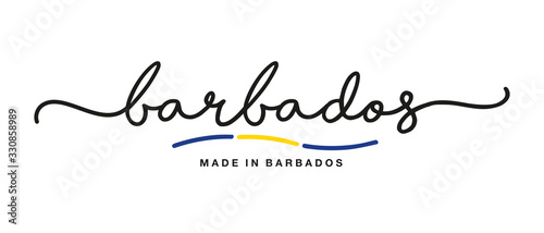 Made in Barbados handwritten calligraphic lettering logo sticker flag ribbon ban Canvas Print