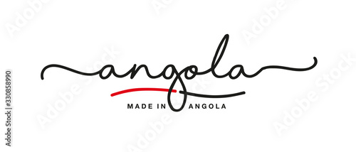 Made in Angola handwritten calligraphic lettering logo sticker flag ribbon banne Wallpaper Mural