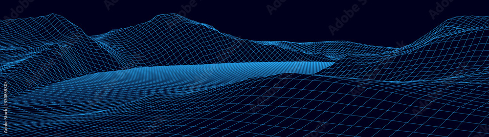 Fototapeta Vector wireframe 3d landscape. Technology grid illustration. Network of connected dots and lines. Futuristic background.