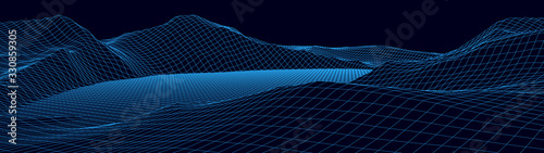 Fototapeta Vector wireframe 3d landscape. Technology grid illustration. Network of connected dots and lines. Futuristic background. obraz