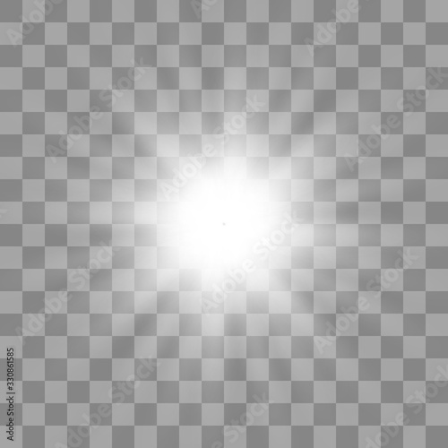 White glowing light burst explosion with transparent Canvas-taulu