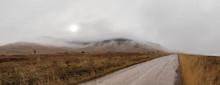 Foggy National Bison Range Wildlife Refuge Landscape In Winter, Montana