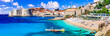 canvas print picture - Croatia travel and landmarks - beautiful Dubrovnik town, view of old town and beach