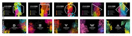 Fototapeta Black business card template set with colorful vector watercolor background and geometric frame obraz na płótnie