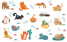 Large Collection Of Colorful Cat Icons Showing Various Different Breeds And Activities Isolated On White For Design Elements, Vector Illustration