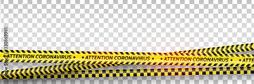Fototapeta Pandemic stop. Coronavirus covid-19 2019-nCoV. Black and yellow stripes set. Warning tapes. Danger. Quarantine biohazard sign. Caution ,Warning or stop corona virus concept. Vector obraz