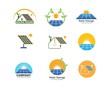 solar panel logo vector icon of natural energy