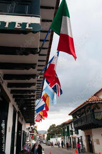 hotel, banderas, colonial, internacional, adornos, colores, insignias Fototapeta