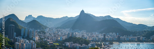 Sugarloaf view of Rio De Janeiro and the statue of Jesus Christ. Wallpaper Mural