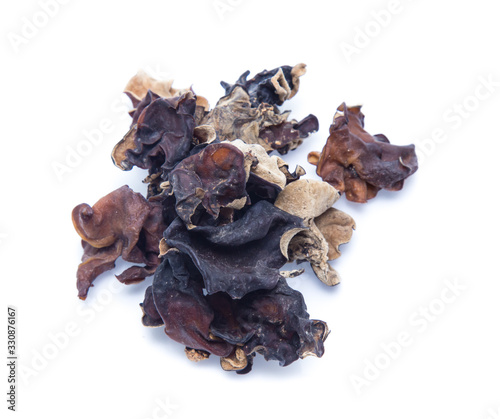 Photo Dried chinese black fungus. Jelly ear  isolated