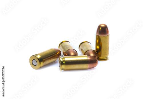 Photo cartridges of .45 ACP pistols ammo isolated