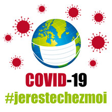 Covid-19 Coronavirus. Hashtag France. Je Reste Chez Moi.