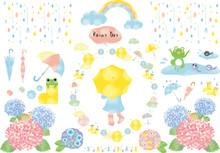 雨:雨 雫 雨粒 レインコート レインブーツ 傘 長靴 紫陽花 カエル 水たまり おたまじゃくし