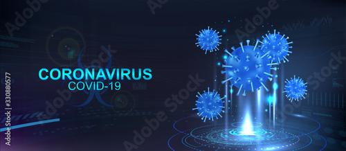 Photo Hologram of Covid-19, Coronavirus bacteria on a blue futuristic background