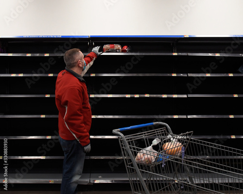 Empty Grocery Store after Virus Pandemic Canvas Print