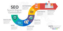 Infographics Template Seo Optimization. SEO Digital Marketing Concept With Chart And Icons.