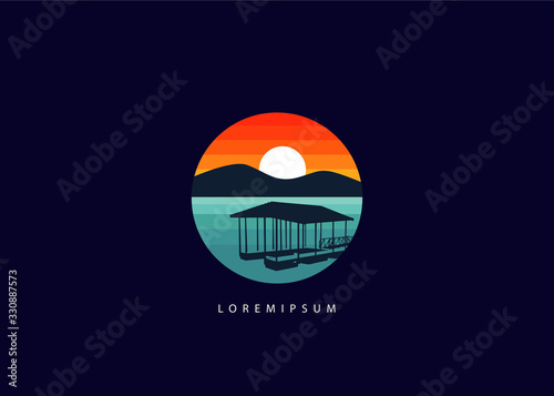 Slika na platnu Lake dock logo. silhouette circle lake dock illustration vector