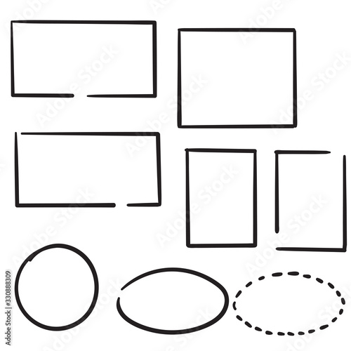 Photo hand drawn doodle frame collection illustration with line art cartoon style