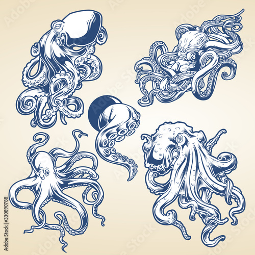 Octopus Drawing Blue Vintage Vector illustrtor Canvas Print