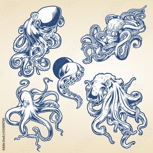 Платно Octopus Drawing Blue Vintage Vector illustrtor
