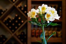 Alstroemeria Flowers In A Wine...