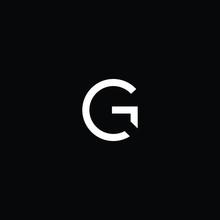 Minimal Elegant Monogram Art Logo. Outstanding Professional Trendy Awesome Artistic G GC CG Initial Based Alphabet Icon Logo. Premium Business Logo White Color On Black Background