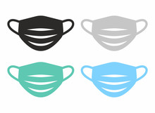 Medical Face Mask Icon Set. Vector Icon Isolated On White Background.