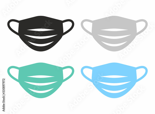 Obraz Medical face mask icon set. Vector icon isolated on white background. - fototapety do salonu