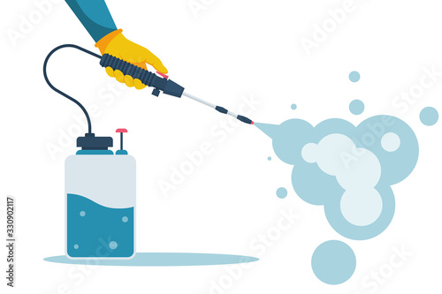 Obraz Cleaning and disinfecting coronavirus. Atomizer and sprayer. Man in hazmat suit and gloves. Pandemic risk. Vector illustration flat design. Epidemic spread precautions. - fototapety do salonu