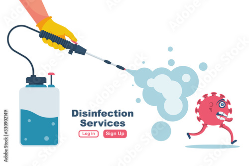 Fototapeta Disinfection services concept. Prevention controlling epidemic of coronavirus covid-2019. Worker in chemical protection disinfects. Vector illustration flat design. Cleaner in hand. Runaway virus. obraz
