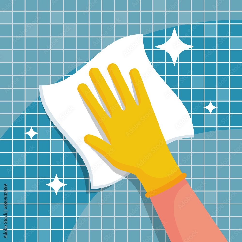 Fototapeta Man with a rag will wipe tiles in the bathroom. Cleanliness and shine are a symbol of hygiene and disinfection. Work at home. Shining surface. Vector illustration flat design. Housekeeping concept.