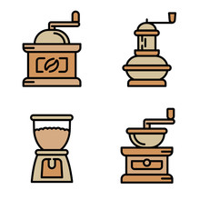 Coffee Grinder Icons Set. Outl...