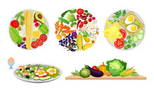 Healthy Food Arranged In Circle And Greengroceries Rested On Cutting Board Vector Set