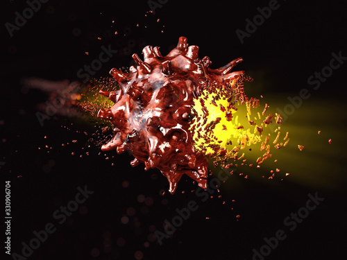 Fotografía 3d rendering of defeat Novel coronavirus disease named nCoV19, clipping path inc