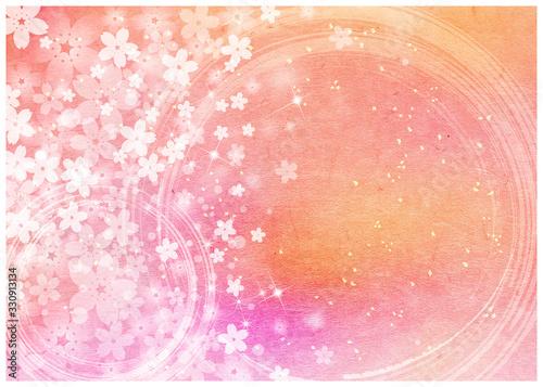 Obraz 桜_ピンク和紙背景 - fototapety do salonu